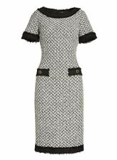 NWT St.John Collection Tweed Knit Short-Sleeve Frost/Caviar Sheath Dress Size 16