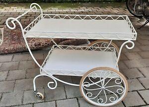 Antiker Teewagen Servierwagen Metall weiß