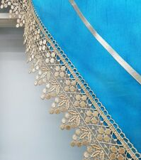MODERN PRINCESS 3pcs lace kitchen curtain set. TOPAZ BLUE color.