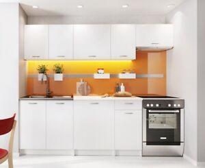 Modern Kitchen 7 Units Cabinets SET White Matt Cupboard & Worktop 240cm Budget