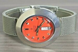 """1970's VINTAGE INVICTA 25J S/S AUTOMATIC MENS WATCH """"ORANGE DIAL""""  FHF 908"""