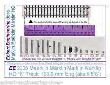 """EE 2206 NEW Märklin HO 3 Rail """"K"""" Straight Track 168.9 mm (aka 6 5/8"""") Long"""
