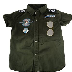 Disney Store Planes Dusty Pilot In Training Polo Shirt Sz 4 Green Snaps Patches