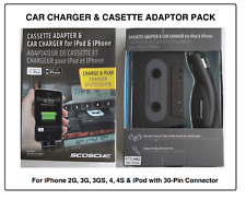 Genuine Scosche Universal Black Cassette Adapter & Car Charger for iPhone / iPod