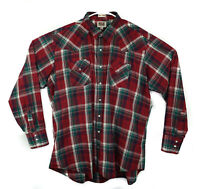 Ely Cattleman Large Tall Man Size 2X Tall Pearl Snap Western Shirt Maroon Plaid