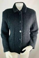 Eileen Fisher Large Women's Nubby Knit Wool Jacket Coat Black Button Down