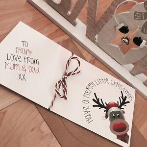 Personalised Rustic/Retro Christmas Money/Gift Voucher/Card Wallet/Reindeer