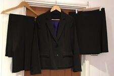 LADIES F&F Black Three Piece Suit, Jacket, Trousers and Skirt.