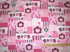Pink Ribbons of Hope Graffiti Breast Cancer Survivor Fabric by the 1/2 Yd #35043