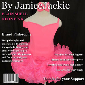 New National Pageant Dress Plain Shell,  Size: XXS, XS, S, M, L (Neon Pink)