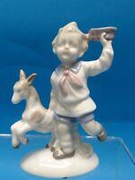 Vintage German  Porzellanfiguren Gräfenthal (Grafenthal) Figurine Boy & Goat