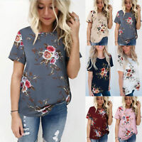 Womens Summer Casual Tops Blouse Short Sleeve Crew Neck Floral T-Shirt Ladies