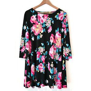 AX Paris Curve Size 22 Floral Tunic Top Blouse 3/4 Sleeves