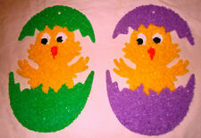 Pair 2 Vintage Melted Popcorn Plastic Matching Chick in an Egg 1 Purple & 1 Gree