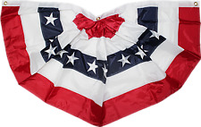 3x6 ft Embroidered Commercial Fan USA American Nylon 2ply Flag Bunting Premium