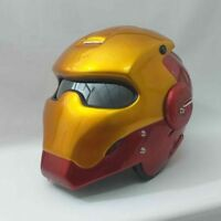 THE IRON MAN HELMET GOLD RED MOTORCYCLE MOTO CUSTOM OPEN FACE ABS LAMP M and L