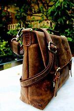 Handolederco Rustic Buffalo Hide Leather Messenger Laptop Shoulder Bag for Men