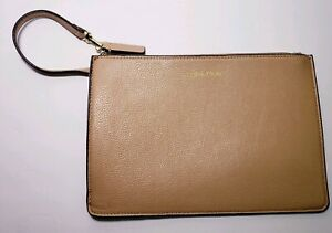 Calvin Klein Tan Lether Zippered Clutch Cosmetic Bag!