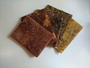 Five Piece Autumn Batik Fat Quarter Bundle, Brown Fall Fabric, Quilting, Craft