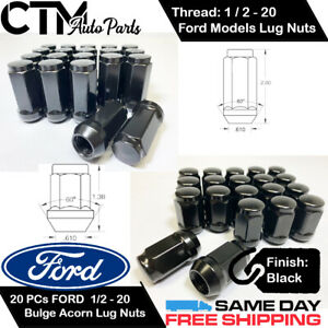 20PC FORD BLACK CONICAL SEAT 1/2-20 WHEEL LUG NUTS BULGE ACORN FOR FORD MODELS