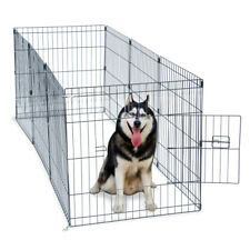 """New listing 24"""" Tall Wire Fence Pet Dog Cat Folding Exercise Yard 8 Panel Metal Playpen"""
