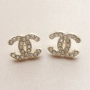 Set of 2 Chanel Buttons 14x18mm, Gold, Rhinestone, Stamped