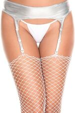 Wet LOOK Stretchy Metallic Silver Pull on 4 Strap Suspender Belt P7726
