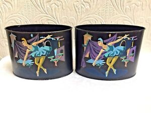 Pair Mid Century Ballerina Paint By Numbers Metal Vases Planters