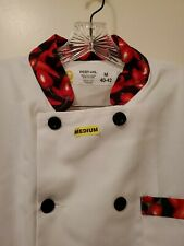 Chef Coat & Pants Nwot Best-Val Size M White coat with chili trim and chili pant