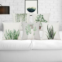 Green Tropical Plants Linen Pillow Case Throw Cushion Cover Home Decor Fashion