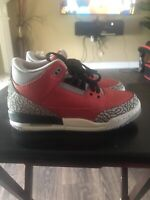 2020 Nike Air Jordan 3 Retro SE GS SZ 5Y Fire Red Cement Grey Black CQ0488-600