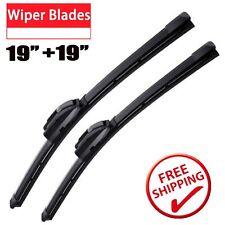 "19"" + 19"" Front Windshield Wiper Blades High Quality All Season J Hook Frameless"