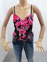 Corpetto RICHMOND Donna Taglia Size 44 Top Woman Rosa Cotone Maglia Femme 7678
