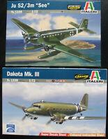 "2x ITALERI 1338 + 1339 - Dakota MK. III + Ju 52/3m ""See"" - 1:72 - Bausatz Kit"