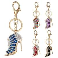 Rhinestone Shoe High Heel Keyring Pendant Key Bag Chain Ring Car Bag Keychain