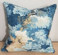 Omega Prints English Oak Cornflower & Amalfi Velvet Cushion Cover 40x40 cm