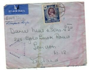 BURMA STAMP & POSTMARK ON COVER AIRMAIL USED TO UK PASSED BY RANGOON CENSOR 1940