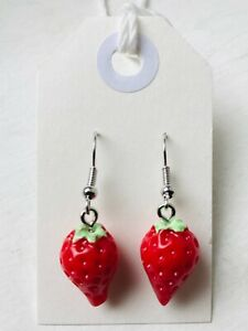 GROOVY RED STRAWBERRY Earrings Retro Fruit Kitsch 3D Size 1.8 x 1.2 cms