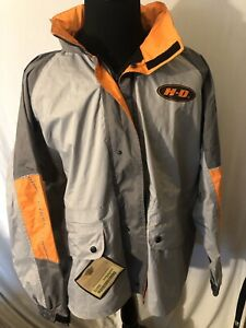 Harley Davidson Rain Wind Jacket Hood 3M Reflective Gray Orange Men Sz XXL [538]