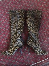 BRAND NEW UNWORN SEXY LK BENNETT LEOPARD PRINT KNEE HIGH BOOTS UK 8 LACE-UP BACK