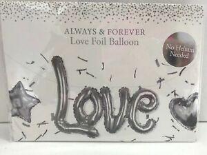 Always & Forever 'Love' Foil Balloon Silver Colour