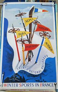 RARE 1940's ORIG FRANCE VINTAGE LITHOGRAPH TRAVEL POSTER FRANCE NATIONAL RAIL
