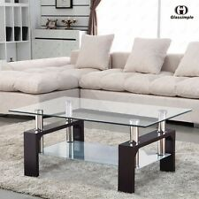 Rectangular Glass Coffee Table Shelf Chrome Walnut Wood Living Room Furniture