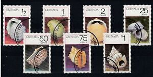 set of 9 used Shellfish stamps from Grenada