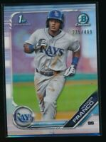 WANDER FRANCO 2019 1st Bowman Chrome REFRACTOR #/499 Tampa Bay Rays Rookie RC