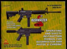 Bushmaster 9MM Pistol & Carbine Models 2005 Orig Factory Owner's Manual
