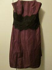 Behnaz Sarafpour Dark Purple Wine Plum Lace Strapless Retro Dress Lined Sz 7 NWT