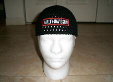 Harley Davidson Inspired HANDMADE Crochet BLACK Skull Cap Beanie Hat bar Patch