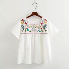Fashion Vtg 70s Women Hippie Mexican Floral Embroidered ETHNIC BOHO Blouse TOPS