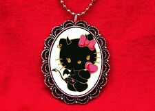 HELLO DEVIL KITTY CAT 2 PENDANT NECKLACE GOTH KAWAII